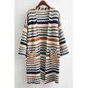 Ladies Khaki Stripes Print Open Front Drop Sleeve Knitwear Cardigan with Pockets