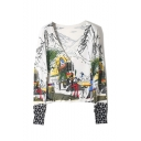 Stylish Cartoon Graffiti Print V-Neck Long Sleeve Cardigan for Women