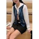 Dark Blue Chic Zipper Pendant Embellished Notched Lapel Sleeveless Single Breasted Short Denim Vest Coat