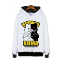 Cartoon Black and White Bear Pattern Round Neck Long Sleeve Unisex Casual Pullover Hoodie