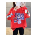 New Stylish Horse Chicken Letter Pattern Round Neck Long Sleeves Pullover Sweatshirt