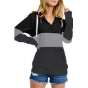 New Stylish Color Block Zippered Front Long Sleeve Pullover Hoodie With Pocket