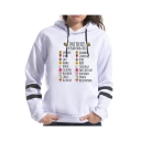 New Trendy White Stripe Long Sleeve SAVE THE BEES Letter Bee Flower Printed Loose Hoodie