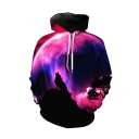 New Trendy Purple Aurora Wolf 3D Printed Long Sleeve Casual Loose Pullover Hoodie