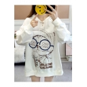 WHO Letter Cartoon Cat Printed Round Neck High Low Long Sleeve Loose Pullover Hoodie
