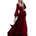 Womens New Fashion V-Neck Long Sleeve Bow-Tied Waist Slit Plain A-Line Maxi Enevning Dress