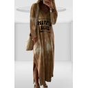 Womens Summer Simple V-Neck Long Sleeve Ombre Tie Dye Letter HIPPIE SOUL Print Slit Sheath Maxi Dress