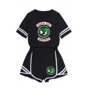 Trendy Snake Logo Printed Short Sleeve Tee with Shorts Black Sport Co-ords