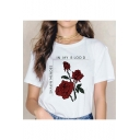 Trendy Summer Floral Letter IN MY BLOOD Printed Round Neck Short Sleeve White Tee