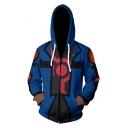 New Trendy Comic Cosplay Costume Basic Long Sleeve Zip Front Blue Sport Hoodie