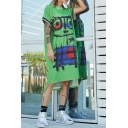 New Fashion Round Neck Short Sleeve Graffiti Print Letter High Low Green Shift T-Shirt Dress