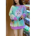 Lovely Cat Print Round Neck Long Sleeve Tie-Dyed Loose Pullover Sweatshirt
