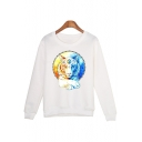 Cool 3D Ice and Fire Tiger Printed Round Neck Long Sleeve White Sweatshirt