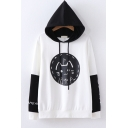 Lovely Cat Letter Printed Color Block Long Sleeve Leisure Hoodie