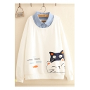 Sweet Girls Cute Cartoon Cat Fish Bone Printed Patched Lapel Collar Pullover Sweatshirt