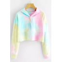 Hot Fashion Tie Dye Printed Long Sleeve Casual Loose Crop Hoodie