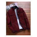 Mens New Trendy Contrast Striped Hem Stand Up Collar Long Sleeve Zip Up Cotton Jacket