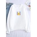 Cute Cartoon Printed Basic Crewneck Long Sleeve Pullover Sweatshirt