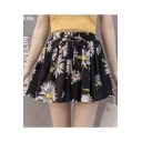 Girls Summer Trendy Floral Printed Black Chiffon Culottes Shorts