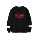 Hot Trendy Stranger Things Friends Don't Lie Letter Print Casual Loose Pullover Sweatshirt