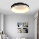 Black and White Ring Ceiling Mount Fixture Modern Simple Acrylic Flush Lighting for Bedroom