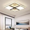 Acrylic Square Flush Light Modern Ceiling Light Fixture in Black and White for Living Room