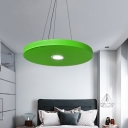 Metal Round Disc Hanging Light Modern Led Pendant Lighting for Kindergarten