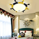 Resin Rudder Flush Light with Frosted Glass Bowl Shade Nautical Boys Room Flushmount