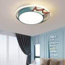 Round Flush Ceiling Light with Crown Cartoon Nordic Metal Flush Light with Acrylic Diffuser