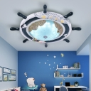 Nautical Style Rudder Flush Lamp Integrated Led Resin Flush Mount Ceiling Light