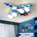 Airplane Ceiling Flush Light Modern Wood Led Ceiling Light for Play Room