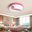 Pink Round Flush Ceiling Light Metal Shade Kids Led Ceiling Light Fixture for Girls