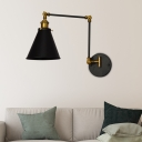 Swing Arm Wall Light Industrial Metal 1 Light Sconce Wall Lighting, Matte Black with Brass