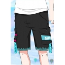 Fashion Comic Cosplay Costume Color Block Unisex Sport Loose Black Cotton Shorts