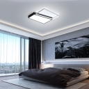Geometric Design Bedroom Ceiling Light Fixture Acrylic LED Simple Flush Lighting in Black/White