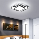 Modern Black and White Ceiling Lamp with Geometric Shade LED Acrylic Ceiling Flush for Living Room