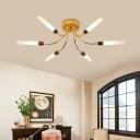 Cylinder Pipe Bedroom Semi-Flush Ceiling Light Metal 6/8 Light Modern Ceiling Light in Gold