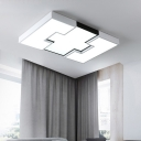 Black and White Geometry Ceiling Lamp LED Modern Simple Acrylic Flush Lighting for Living Room