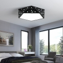 Metal Diamond Flush Mount Lamp Fixture LED Modern Flush Light Fixtures in Black/White