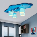 4 Lights Dome Semi Flushmount with Blue Cloud Canopy Handblown Glass Kids Ceiling Light