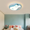 Sky Blue Novelty Guitar Flush Mount Metal 1 Light Flush Mount Lighting Fixtures for Kids Room
