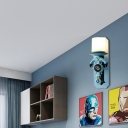 Anchor Wall Sconce Lights Mediterranean Metal and Glass 1-Light Wall Light Fixtures for Hall