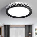 Modern Black Ceiling Light with Snowflake Design Drum Shade LED Metal Flush Mount Lighting