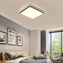 Super-thin Rectangle/Square Bedroom Ceiling Light Acrylic Modern Flush Mount in White