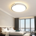 Modern Simple Round Ceiling Flush Light Metallic Led White Flushmount for Bedroom