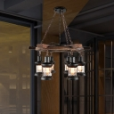 Satin Black Lantern Pendant Lamps Mediterranean Wood and Metal Ceiling Pendant Light for Restaurant