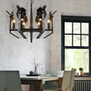 Novelty Candle Chandelier Light Fixture Retro Metal 6 Heads Chandelier in Black Antique Brass for Indoor