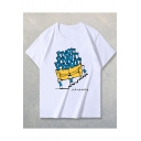 Classic Cartoon Figure Pivot Sofa Printed Loose Fitted Cotton T-Shirt