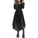 Vintage Medieval Gothic Style Lace Patchwork Long Sleeves Black Slim Asymmetric Hem Hooded Tunic Trench Coat