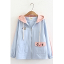 Cute Cat And Fish Embroidered Color Block Zip Up Hooded Jacket